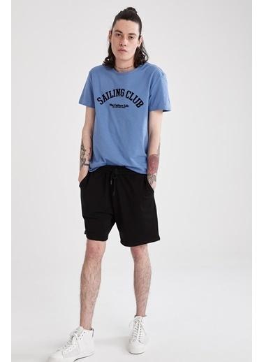 DeFacto Slim Fit Bisiklet Yaka Baskılı T-shirt Mavi